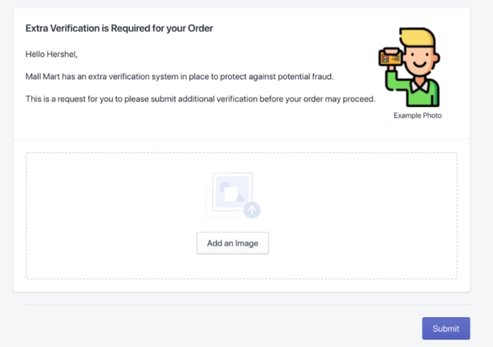 Shopper verification page and notification email